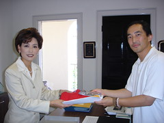 Cliff Lee and Young Kim at Royce's Office 7-20-07