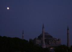 St.Sophia and the moon (coene) Tags: blue cloud nature azul night turkey landscape cone muslim trkiye istanbul mosque cami hagiasophia bosphorus sultanahmet estambul manzara ayasofya supershot istanul anawesomeshot coene onlythebestare turkeynorthcoast