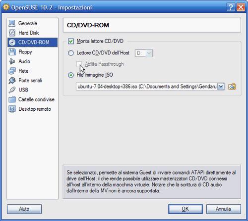 Fig. 5 - VirtualBox 1.5 - Attivazione invio diretto comandi ATAPI drive host