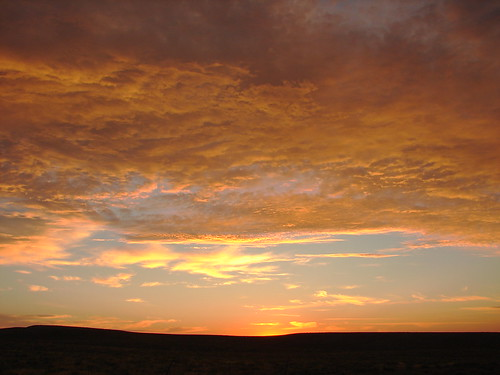 orange clouds at sunset; Wyoming Plains...