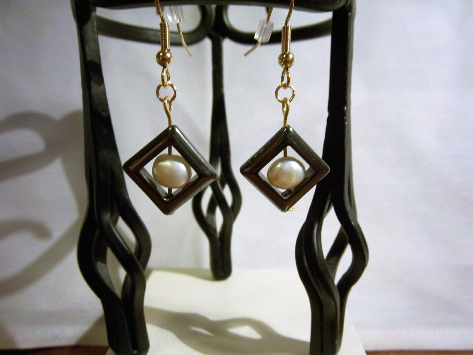 Earrings Gold Hematite Diamonds and White Freshwater Pearls 2