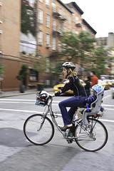 mom bike (Karol Franks) Tags: street city nyc ny newyork bike bicycle mom google child ride helmet bing copyrighted okarol karolfranks aingworth pleasedonotuseimageswithoutmypermission 2014 karolfranksgmailcom