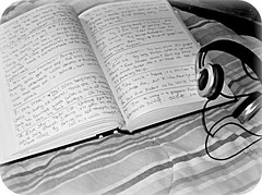 writing and music (indielove) Tags: blackandwhite writing book bed text journal headphones photo365