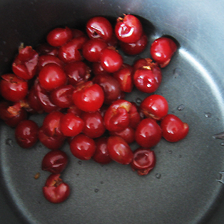 Pitted sour cherries about to made into preserves