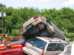Wrecking Yard, 3 Cars, Close-Up