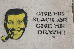 Seattle You Latter (Amy Palomar) Tags: man black face june yellow d50 death nikon paint michigan pipe nikond50 spray sidewalk ypsilanti slack givemeslackorgivemedeath