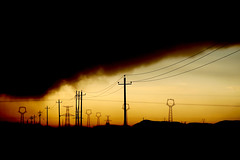Pollution and power lines in northern China (AdamCohn) Tags: china sunset silhouette clouds smog chinese powerlines pollution airpollution developingworld industrialization blackclouds kartpostal adamcohn httpwwwadamcohncom