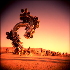 Big Rig Jig - closer (pixietart) Tags: sunset sculpture art film nycpb square landscape holga xpro desert nevada playa blackrockcity velvia gothamist mikeross 500x500 burningman2007 bigrigjig