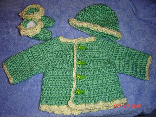 Green Jacket/Hat/Bootie Set