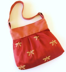 SHOULDER BAG Golden Dragonflies on Red (LMcreation) Tags: red yellow gold dragonfly formal cotton purse medium etsy handbag tote embroidered shoulderbag microsuede bagsandpurses lmcreation
