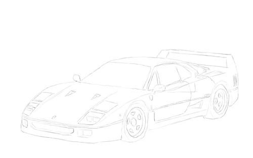 Ferrari Side View Drawings Ferrari F40
