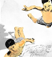 Kids II (Mari Coan) Tags: boy brazil water pool gua brasil kids illustration swimming pencil watercolor kid mergulho dive garoto diving piscina nadar refraction brazilian lpis garotos ilustrao menino nadando aquarela trao mergulhando frombrazil refrao brsil braziliandesigner brazilianillustrator
