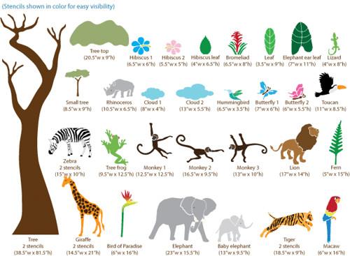 Jungle mural Stencils