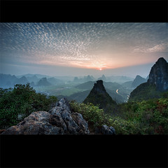 what colours did you scream (biancavanderwerf) Tags: china travel blue sunset orange mist mountains colour green climb high explore bianca karst frontpage dreamcatcher yangshou reizen hoogte earthasia ctrippic stonedigitalexperienceagency ctrippictop100