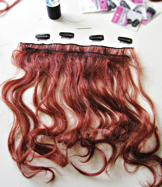 how to make clip in hair extension from a wig+DIY+Hair Tutorial+Costumes+Halloween wig - 11