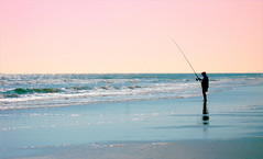 fisherman (LuAnn Hunt) Tags: man beach water fisherman waves alone peaceful cigar serene fishingpole northmyrtlebeach mywinners blinkagain