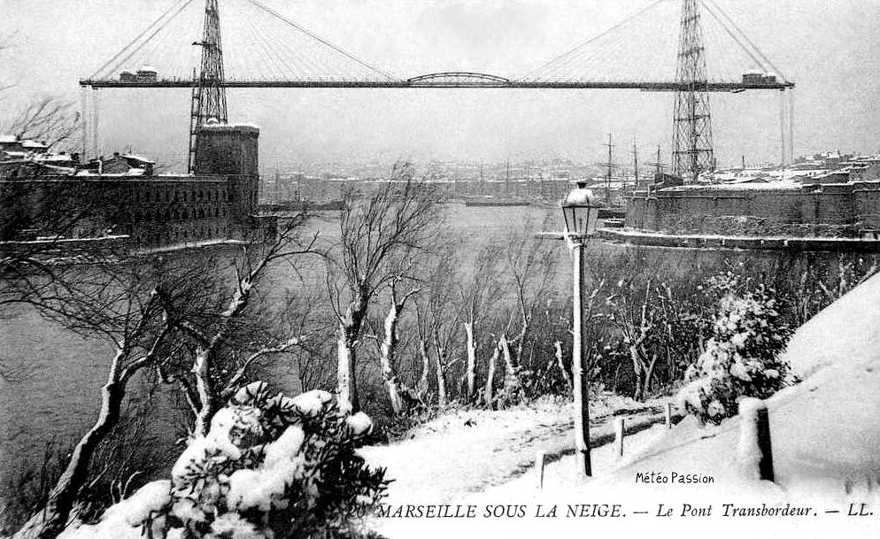 neige au Pont Transbordeur de Marseille en janvier 1914
