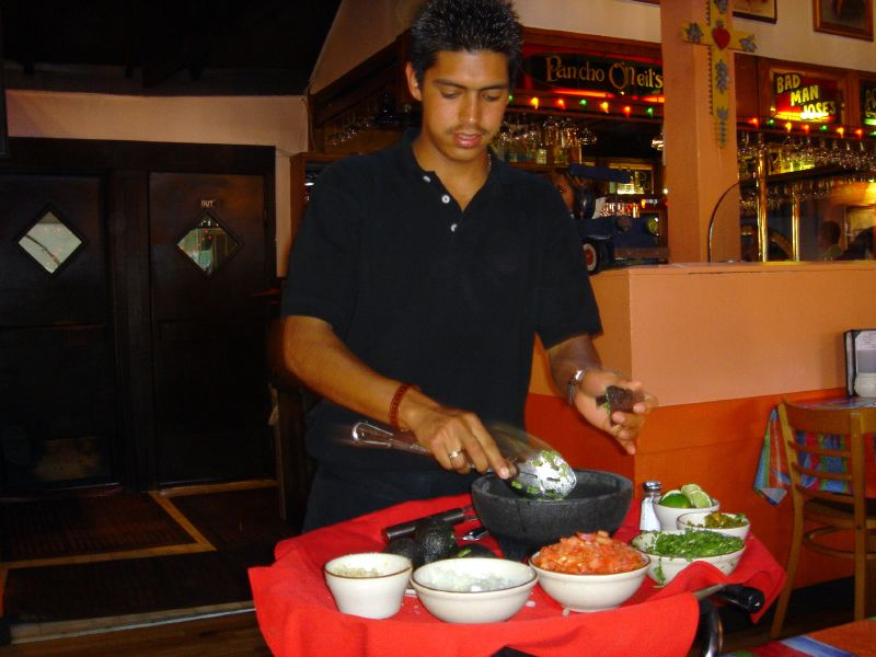 Tableside Guacamole making