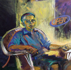First-Time Model (mckenzieo) Tags: portrait youth painting colorful signature negativespace expressionist neonsign blake opensign pensacola backlighting 2007 solemn wickerchair complementarycolors figuremodel childportrait contemporaryportrait mckenzieoerting purplehairedchick belmontartcenter