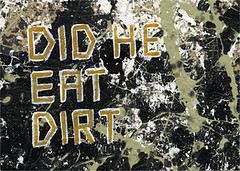 did he eat dirt (unlikelymoose) Tags: original white abstract black green art fling painting observation typography graffiti words paint acrylic postmodern grunge letters profile smudge bio poetic jackson drip story dirt eat question statement expressionism latex erik abstraction artbrut smear pollock did he conceptual shattered intellectual edition biography splatter gesso rugged grungy communicate speckle inquisitive ferocious jacksonpollock 5x7 enamel brut philosophical autobiography experiences analyze abstractexpressionism theoretical blocky synopsis autobio gallantry maldre didhe erikmaldre