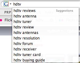 HDTV On Google Suggest