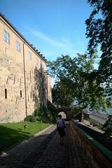 Jenni walking down the cobbles from Akerhus Castle, Oslo (StartAgain) Tags: castle oslo norway jenni akerhus