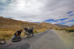 friends nikon failure sigma wideangle tire adventure repair blowout 1020mm kaput himalayas puncture jk tyre mcg ladakh motorcycling motorbiking motography motorcyclegetaways