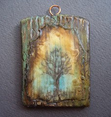 Heavy Weather-art pendant (gabriel studios) Tags: original tree handmade drawing jewelry polymerclay etsy supplies pendant polymer pcagoe gabrielstudios michelegabrielstudios