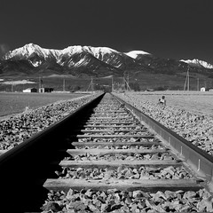 Silence (TheJbot) Tags: railroad mountain snow japan train squares tracks rail stuff rails jbot thejbot