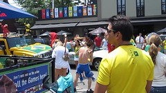 Beautiful Game party (andreakw) Tags: brazil toronto portugal collegestreet fans worldcup littleitaly streetparty beautifulgame wavinflag