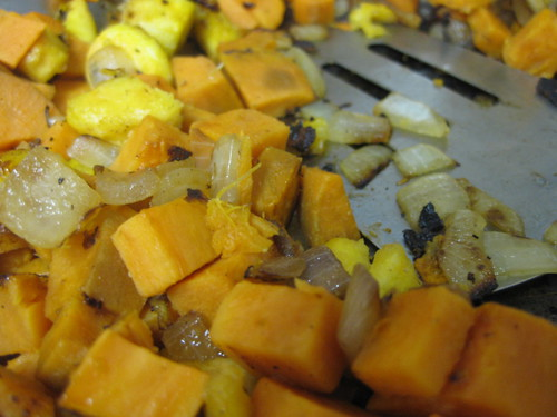 Plantains, sweet potato & onion