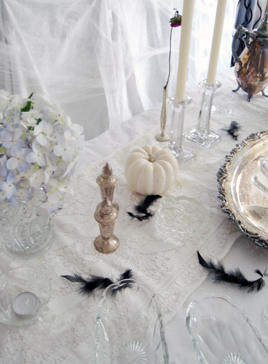 halloween decorations+haunted table top+tarnished silver+vintage crystal+white pumpkins