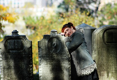 When shall we live if not now? (Faerie Girl) Tags: autumn shadow sunlight fall halloween me cemetery leaves stone brooklyn outside greenwoodcemetery graves tombstones 365days 177365