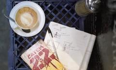 . (little marlowe) Tags: moleskine coffee book sugar crate catch22 colourslide centreplace junglejuice