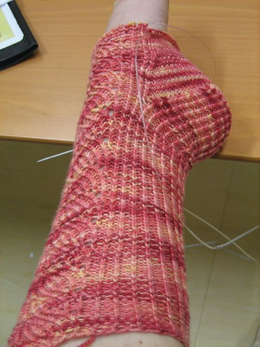 Dahlia sock, instep completed, side view