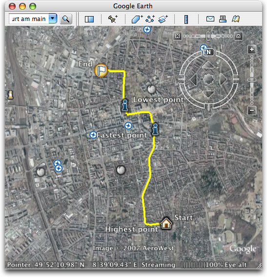 Nokia Sports Tracker exported track in Google Earth