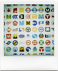 Metro Logos in the World! (masaaki miyara) Tags: underground logo polaroid sx70 tokyo design photo graphic notes metro mark tube add sendai naha  landcamera   argylestreettearoom masaakimiyara