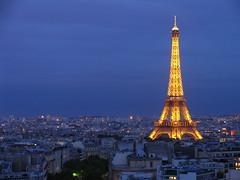 Eiffel Tower at Night (roddh) Tags: paris france night canon lights dusk eiffeltower file pro1 roddh fromthearcdetriomphe abigfave img6497adjust