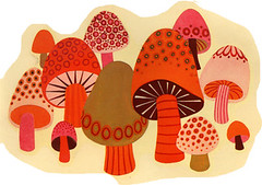 Mushrooms (Katey Nicosia) Tags: vintage mushrooms 60s retro
