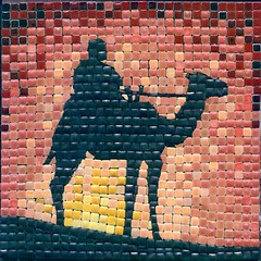 Camel Rider, made with 5x5 mm tiles, by  ALEA-mosaic.com - by Clemens Circulatum