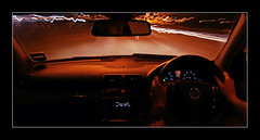 Light Trails At Night Driving Car (David Kendal) Tags: longexposure light abstract motion colour night mercedes movement lighttrails motoring mercedesc180 mercedescclass mercedescclasssportscoupe