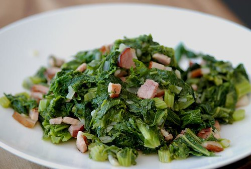 mustard greens with bacon - cookthink