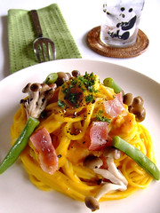 Pumpkin cream spaghetti (bananagranola (busy)) Tags: food japan pumpkin japanese cream pasta japanesefood spaghetti kabocha mediterrasian whetgobblefrolic