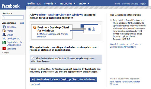 Facebook extended permissions opt-in