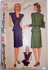 Vintage Simplicity Pattern 1172 Uncut and Factory Folded Size 16 Womens 40s Peplum Dress. Bust 34 Waist 28 Hip 37 (Sassy By Design) Tags: she vintage flickr pattern dress sewing suit international cast etsy 40s peplum size16 bust34 sassybydesign waist28 hip37 simplicity1172