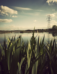pylon view (matthewheptinstall) Tags: reflection water reeds landscape pond pylon stanley wakefield 50d neutraldensityfilter canon2470 filmeffect strawberrypond