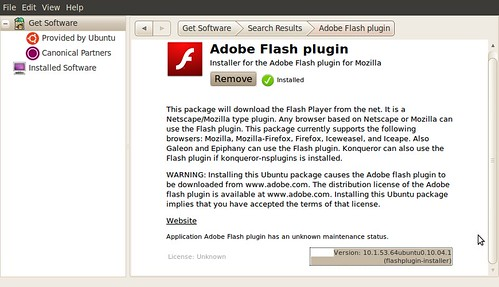 Screenshot-Ubuntu Software Center Adobe Flash plugin 10.1.53.64