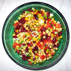 salad bowl (doc(q)man) Tags: food green glass cheese dinner tomato pepper salad corn bowl bean homemade meal squaredcircle onion squircle docman