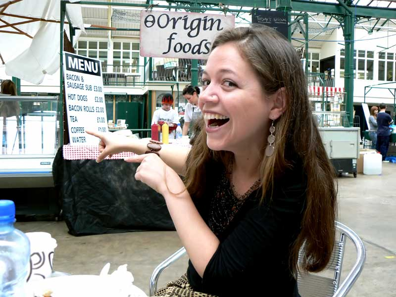 Unpaid Intern Erin at the St Georges Market, Belfast, Northern Ireland