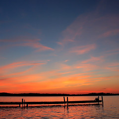 Lake Mendota (Mingfong) Tags: blue sunset red summer sky orange cloud lake wisconsin story madison dreams albumcover summertime blueskies stories lakemendota  watchingsunset   mingfong  m  musicflyer wisconsinwaters mingfongjan     artbrochure sketchoflight mingfongphotography